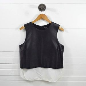 THEORY 'HODAL' LEATHER CROP TOP #127-45
